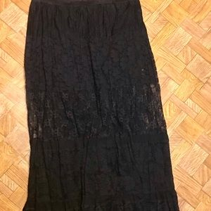 Chico's Boho Maxi Skirt In Beautiful Black Lace